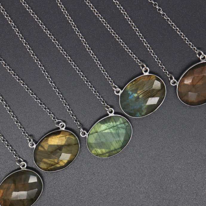 Oval Checkered Cut Natural Labradorite Necklace - Ashley Lozano Jewelry