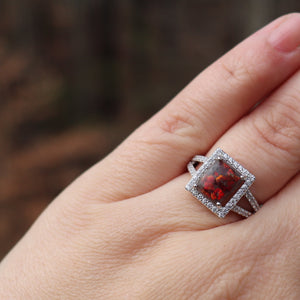 Elegant Emerald Cut Ring with Cremation Ashes - Ashley Lozano Jewelry