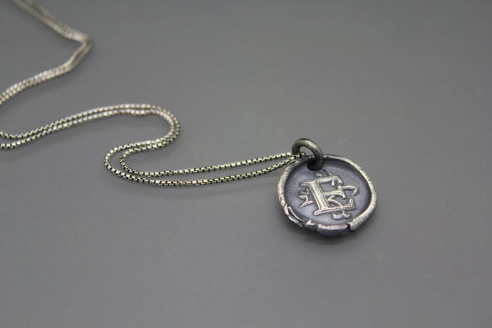 Wax Seal Initial Necklace with Vine Font - Ashley Lozano Jewelry