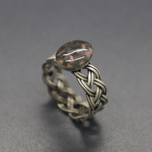 Braided Band Opal Cremation Ring - Ashley Lozano Jewelry