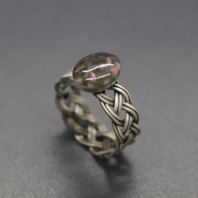 Custom Braided Sterling Cremation Ash Band Ring