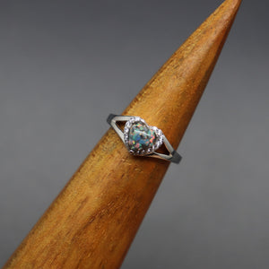 Opal Heart Cremation Ring with Split Shank - Ashley Lozano Jewelry