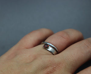 Tapered Wrap Around Cremation Opal Ring - Ashley Lozano Jewelry