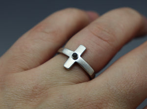 Unisex Silver Raised Cross Ring with Cremation Ashes - Ashley Lozano Jewelry