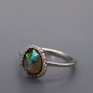 Rose Cut Oval Offset Ring with Cremation Ashes - Ashley Lozano Jewelry