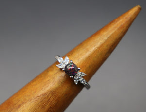 Silver Cremation Ash Ring with Cubic Zirconias - Ashley Lozano Jewelry