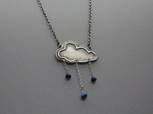 Silver Memorial Rain Cloud Necklace with Infused Cremations - Ashley Lozano Jewelry