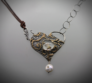 Silver, Gold, and Glass Heart Cremation Necklace - Ashley Lozano Jewelry
