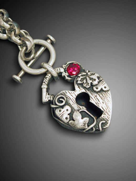 Heart Padlock Necklace, Heart Locket - Ashley Lozano Jewelry