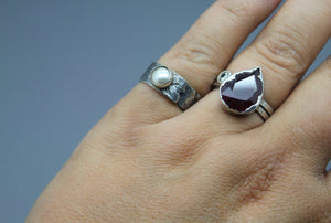 Sterling and Swarovski Pearl Ring - Ashley Lozano Jewelry