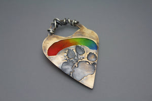 Paw Print Pendant with Rainbow Swirl - Ashley Lozano Jewelry