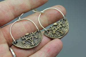 CLEARANCE! Mixed Metal Earrings, Bronze Stamped - Ashley Lozano Jewelry