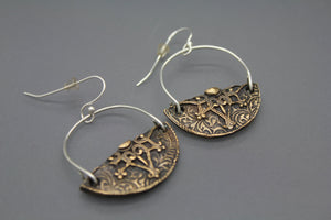 Mixed Metal Earrings, Bronze Stamped - Ashley Lozano Jewelry