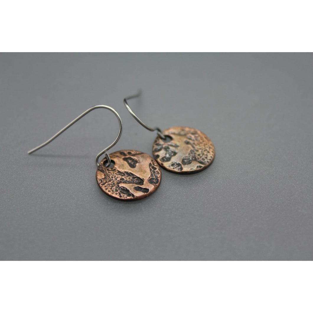 Copper Disc Earrings With Moon Texture - Ashley Lozano Jewelry