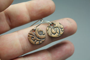 CLEARANCE! Copper Disc Earrings With Swirl Texture - Ashley Lozano Jewelry