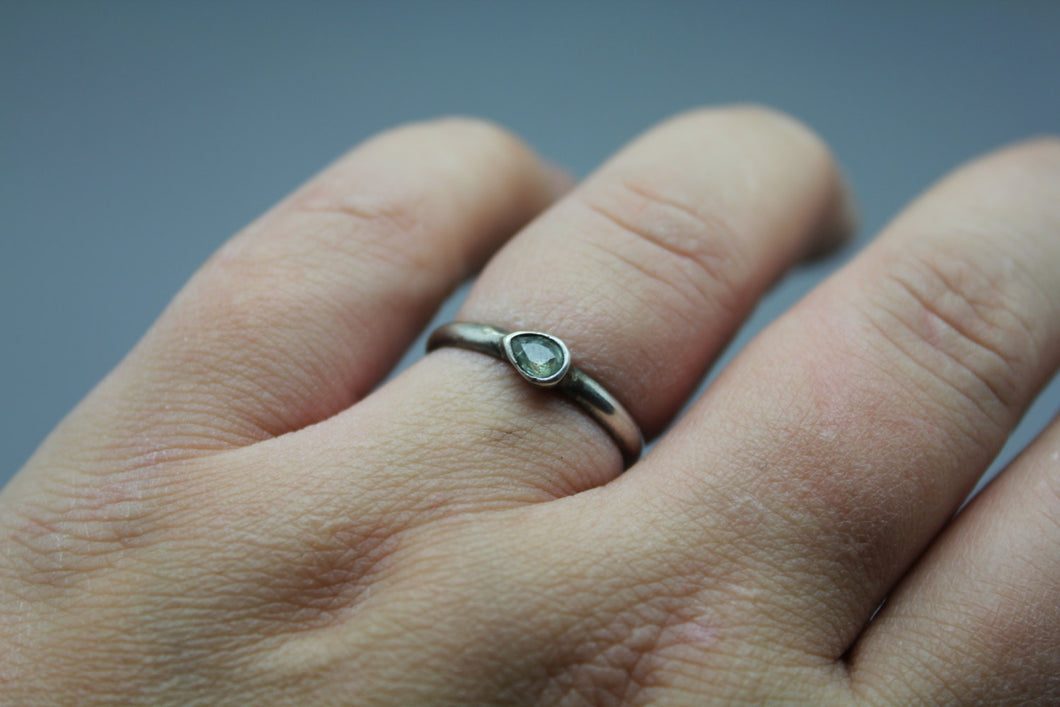 Silver Sapphire Ring - September Birthstone - Ashley Lozano Jewelry