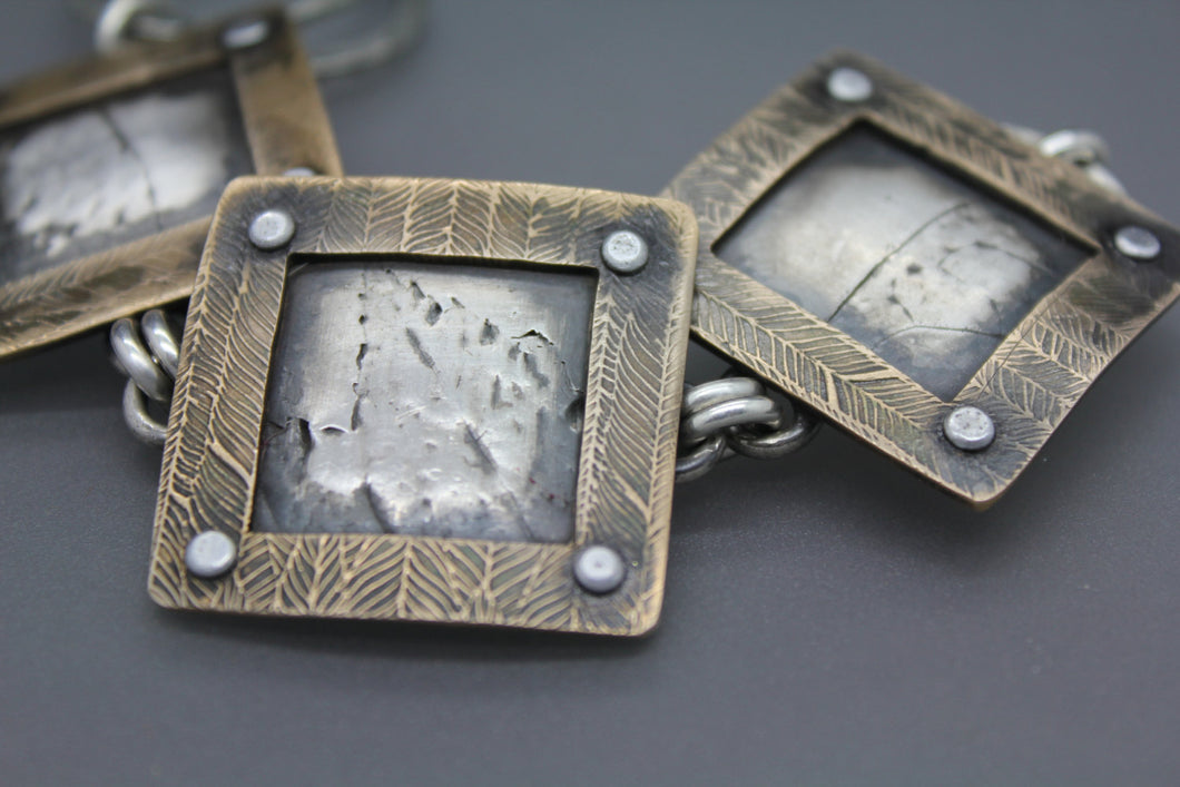 Bronze and Silver Statement Bracelet - Ashley Lozano Jewelry