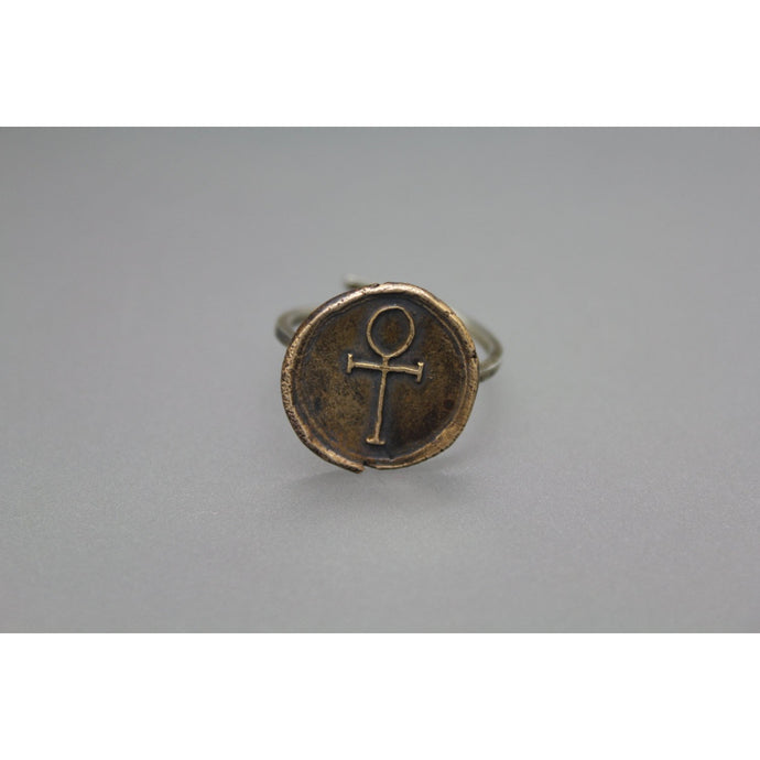 Adjustable Handmade Bronze And Silver Ankh Wax Seal Ring - Ashley Lozano Jewelry