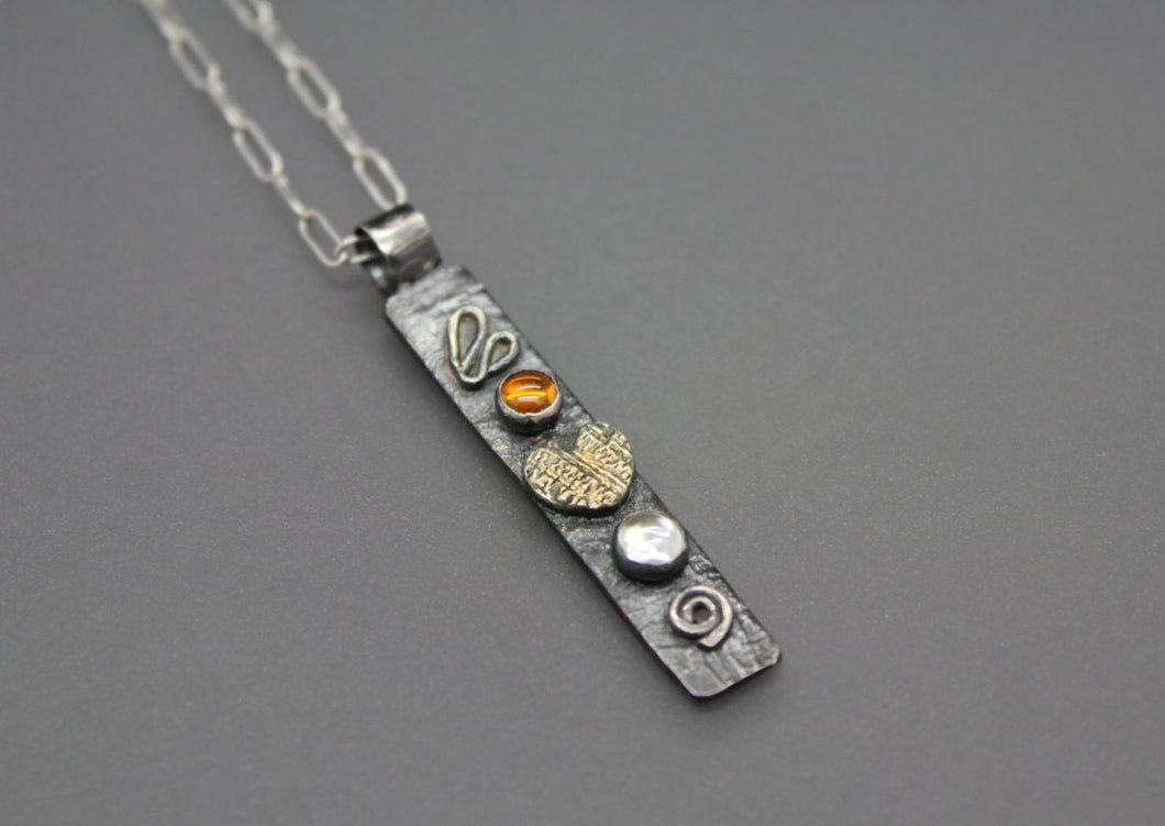 Vertical Silver Bar Necklace - Ashley Lozano Jewelry