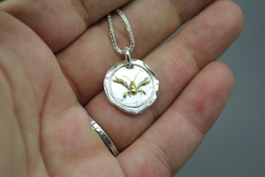 Crawfish Wax Seal Necklace In Gold And Silver - Ashley Lozano Jewelry