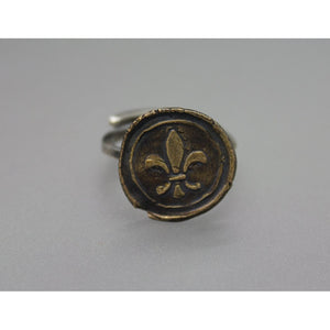 Fleur De Lis Wax Seal Ring Handmade From Bronze And Silver - Ashley Lozano Jewelry
