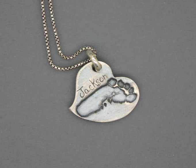 Custom Footprint Heart Necklace - Ashley Lozano Jewelry