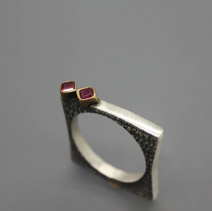 Square Ring with Ruby Accents - Ashley Lozano Jewelry