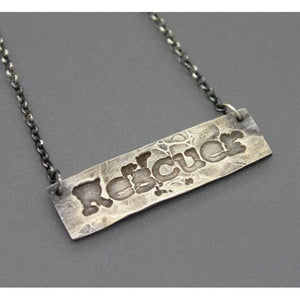 Rescue Bar Necklace In Silver Handmade For Animal Lovers - Ashley Lozano Jewelry