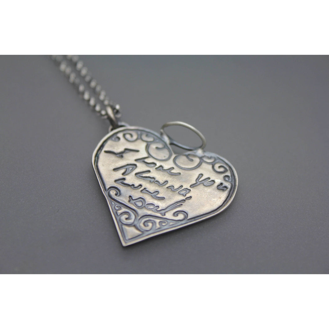 Actual Handwriting On A Silver Memorial Angel Heart Pendant - Ashley Lozano Jewelry