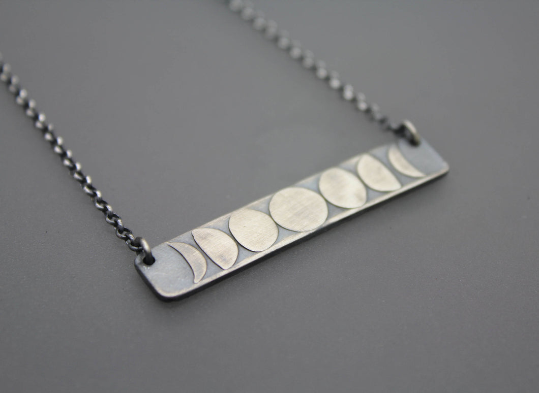 Moon Phases Silver Necklace - Ashley Lozano Jewelry