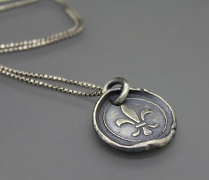 Fleur De Lis Wax Seal Pendant - Ashley Lozano Jewelry