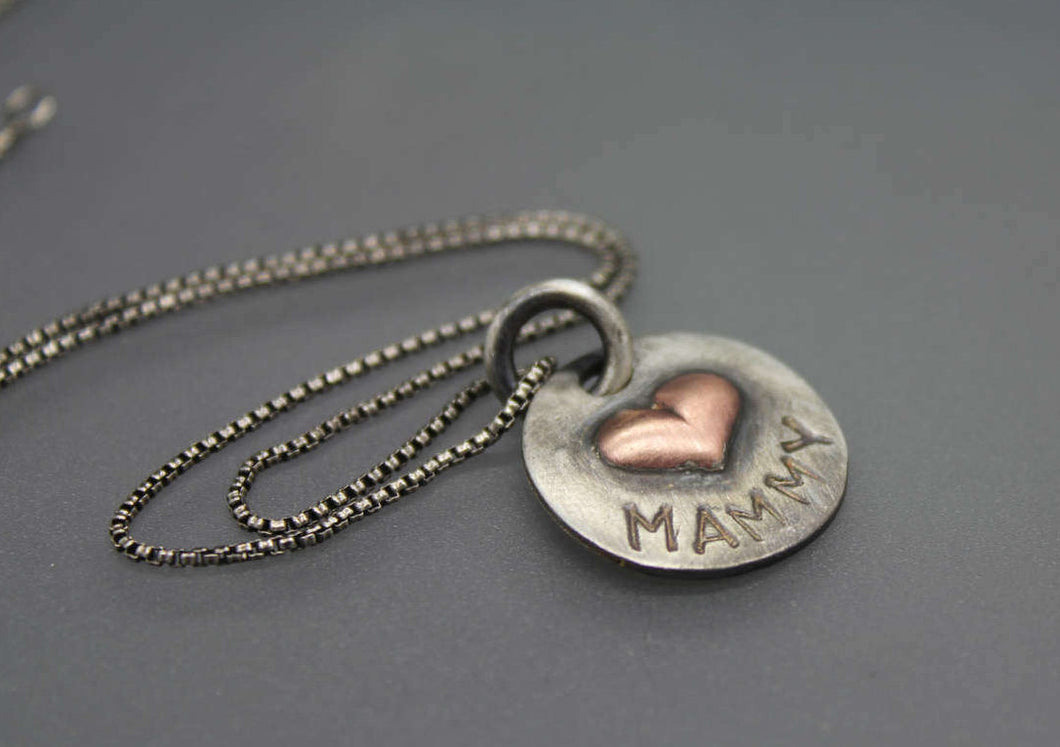 Silver and Copper Mom Necklace, Mother's Gift - Ashley Lozano Jewelry