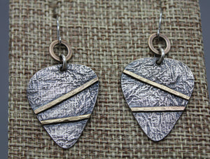 Silver And Brass Guitar Pick Earrings - Ashley Lozano Jewelry