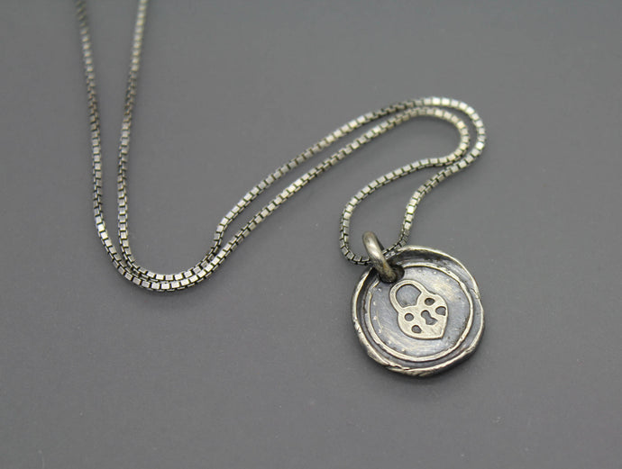 Heart Padlock Wax Seal Necklace - Ashley Lozano Jewelry