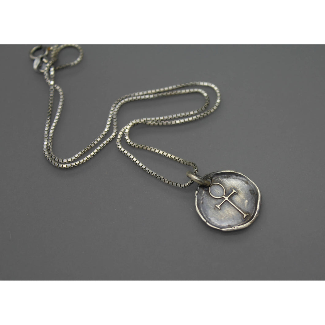 Silver Ankh Wax Seal Charm Pendant Necklace - Ashley Lozano Jewelry