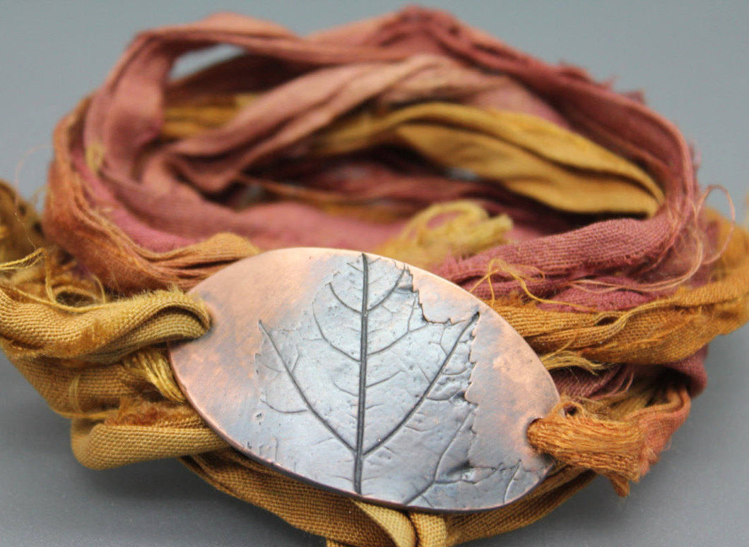 Wrap Bracelet in Copper with Silk Wrap - Ashley Lozano Jewelry