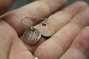 Textured Copper Circle Earrings - Ashley Lozano Jewelry