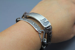 Custom Baby Footprint And Coordinate Bracelet In Silver And Leather - Ashley Lozano Jewelry