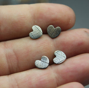 Imprinted Heart Earrings, Studs - Ashley Lozano Jewelry