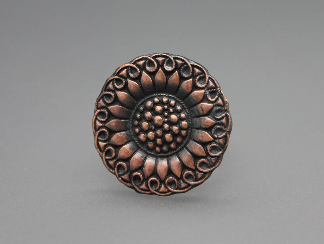Copper Sunflower Ring - Ashley Lozano Jewelry