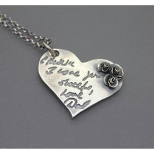 Actual Handwriting Or Signature On Silver Flower Heart Necklace - Ashley Lozano Jewelry