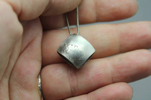 Silver Leaf Imprint Necklace - Ashley Lozano Jewelry