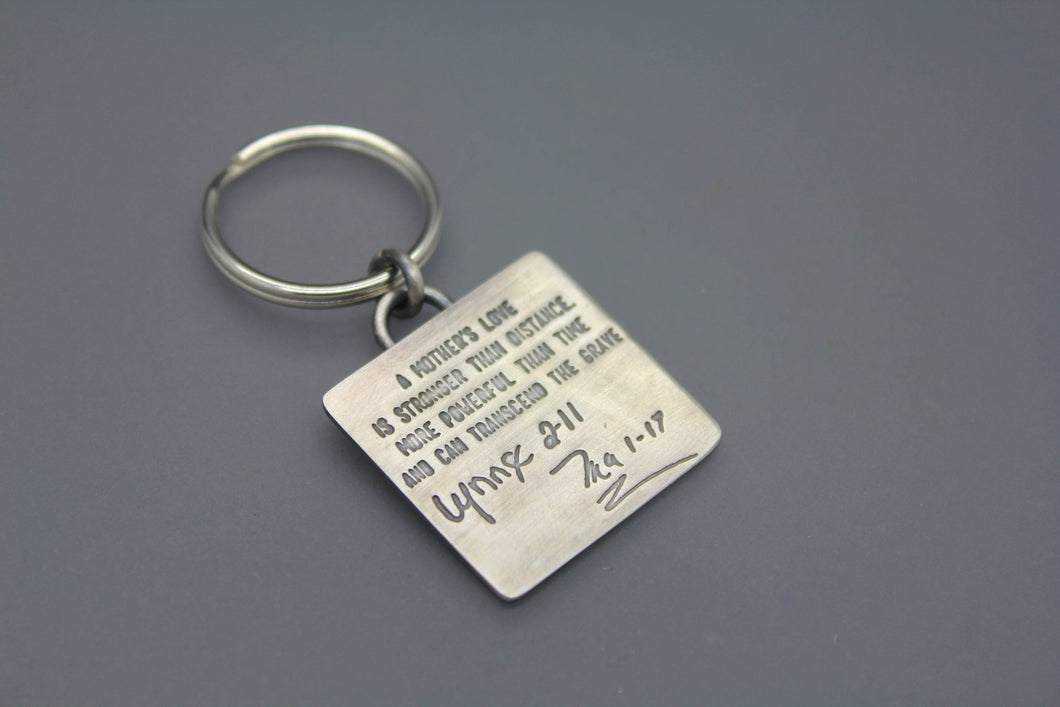 Custom Keychain with Words or Soundwaves - Ashley Lozano Jewelry
