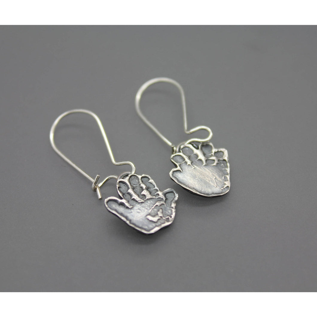 Custom Handprint Earrings In Silver Made From Your Child's Actual Hand Prints - Ashley Lozano Jewelry
