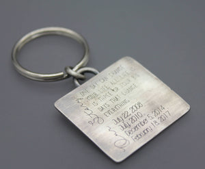 Custom Family Story Keychain With Dates - Ashley Lozano Jewelry