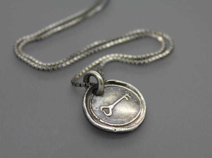 Silver Locket Key Necklace Charm - Ashley Lozano Jewelry