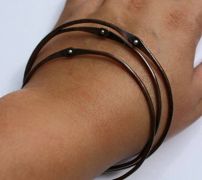 Copper Bangle Bracelet with Rivets - Ashley Lozano Jewelry