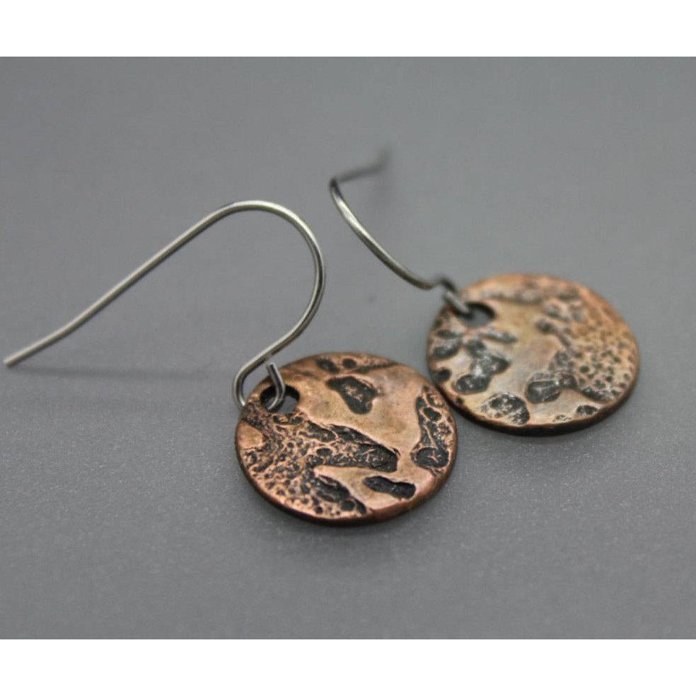 Copper Moon Circle Earrings - Ashley Lozano Jewelry