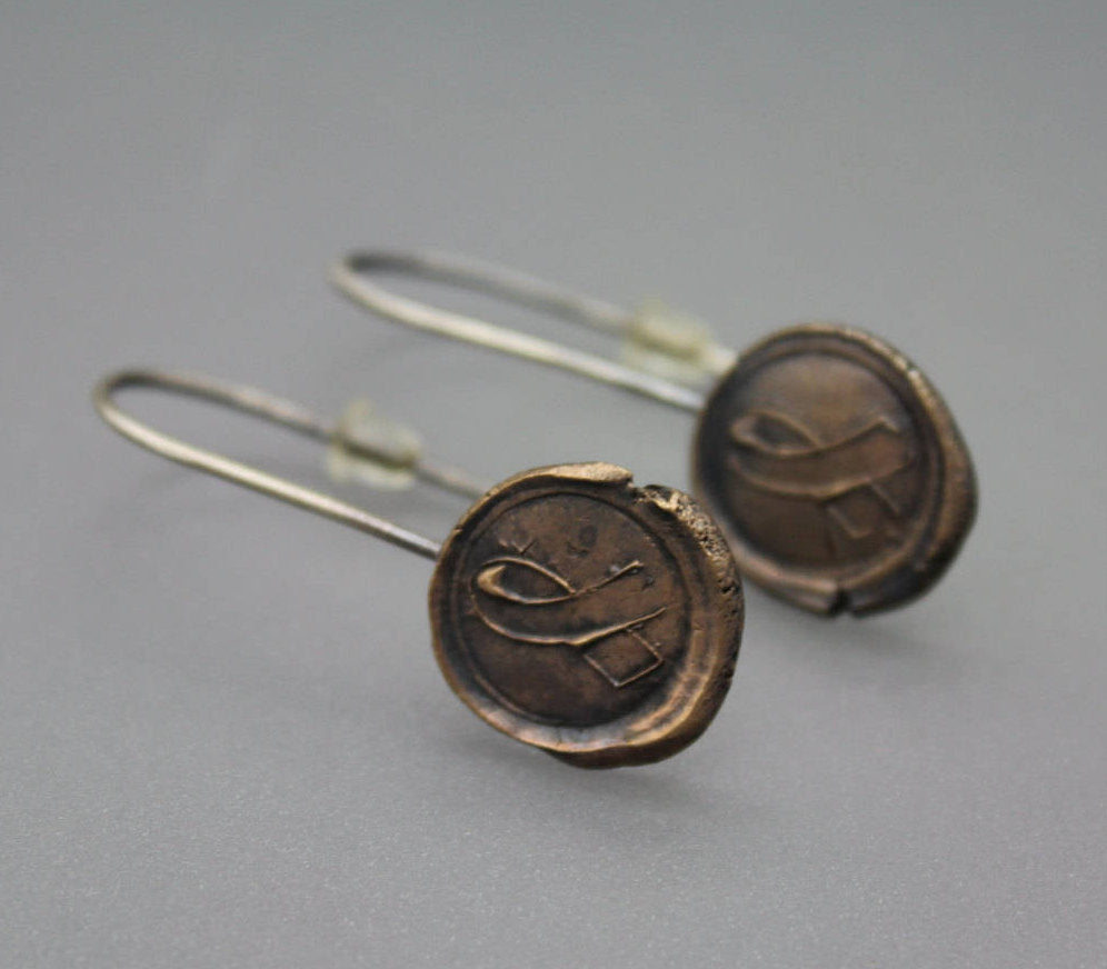 Mixed Metal Wax Seal Earrings - Ashley Lozano Jewelry