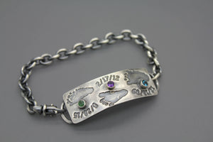 Custom Baby Footprint Bracelet With Birthstones From Your Child's Actual Prints - Ashley Lozano Jewelry